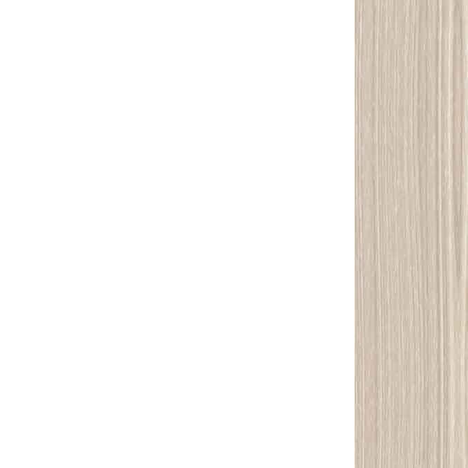 Lacado blanco en hojas de puertas y armarios, rechapado en madera barnizada color Haya en cerco, tapajuntas y rodapiés