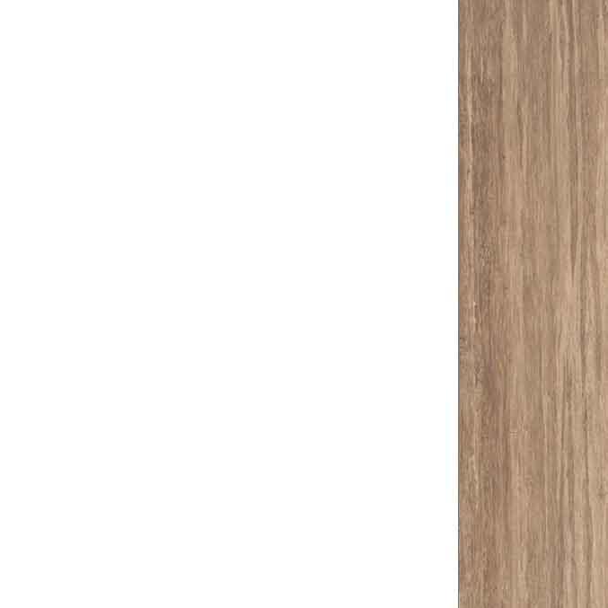 Lacado blanco en hojas de puertas y armarios, rechapado en madera barnizada color Roble en cerco, tapajuntas y rodapiés