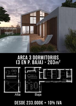 Casas de diseño. Arca 3 dormitorios. Atlántida Homes