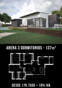 Construir casas. Arena 3 dormitorios. Atlántida Homes