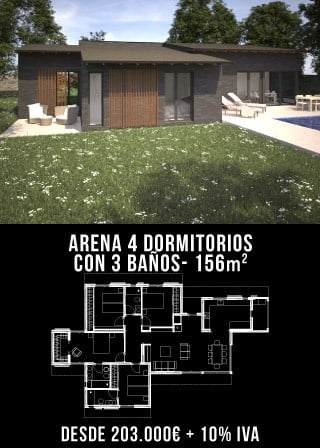 Casa de diseño. Arena 4 dormitorios y 3 baños