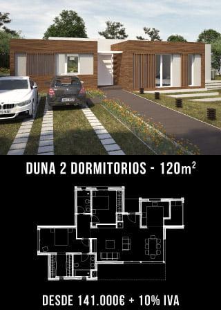 Casa de diseño. Duna 2 dormitorios. Atlántida Homes