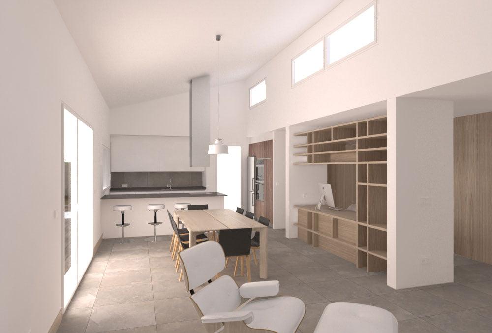 Cocina abierta casa prefabricada Cima. Atlántida Homes