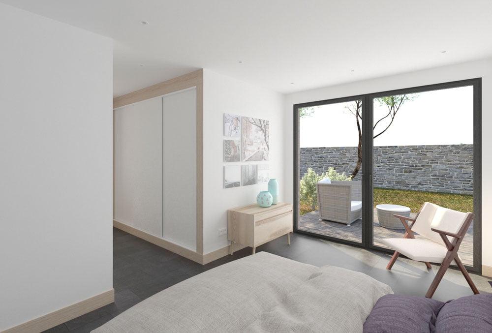 Habitación casa prefabricada hormigón Duna. Atlántida Homes