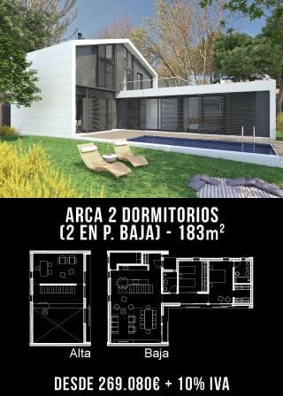 Casas de diseño. Arca 2 dormitorios. Atlántida Homes