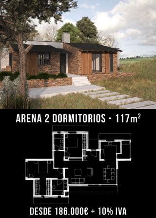 Casas unifamiliares. Arena 2 dormitorios. Nuestras casas prefabricadas Atlántida Homes