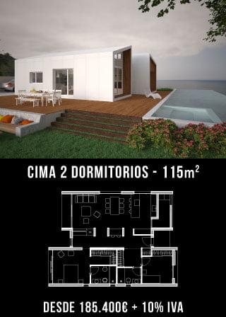 Casa de diseño. Cima 2 dormitorios. Atántida Homes