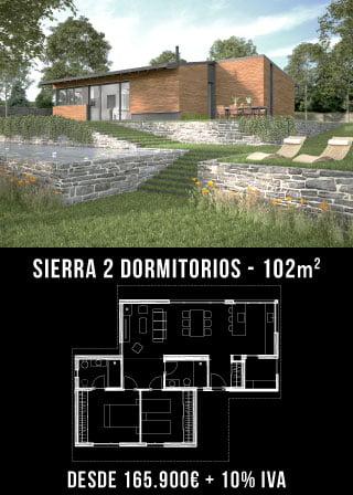 Nuestras casas prefabricadas. Sierra 2 dormitorios. Atlántida Homes
