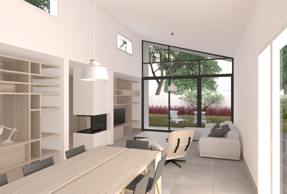 salon vivienda modular CIMA Atlántida Homes