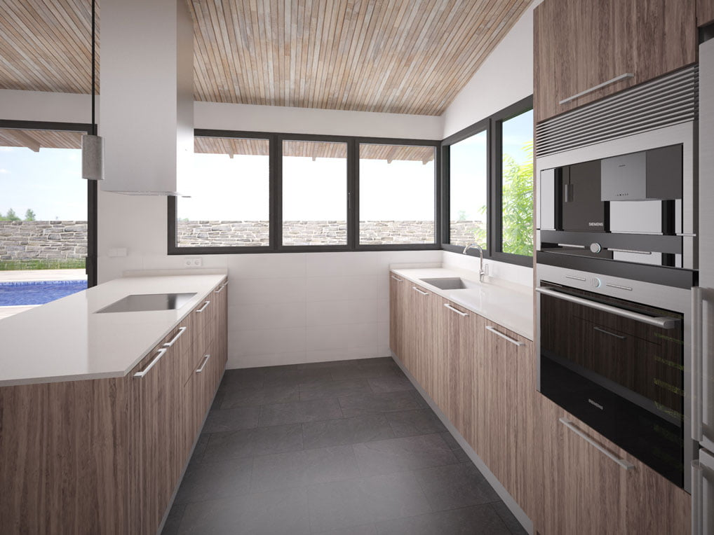 Cocina casa prefabricada Sierra en madera. Atlántida Homes