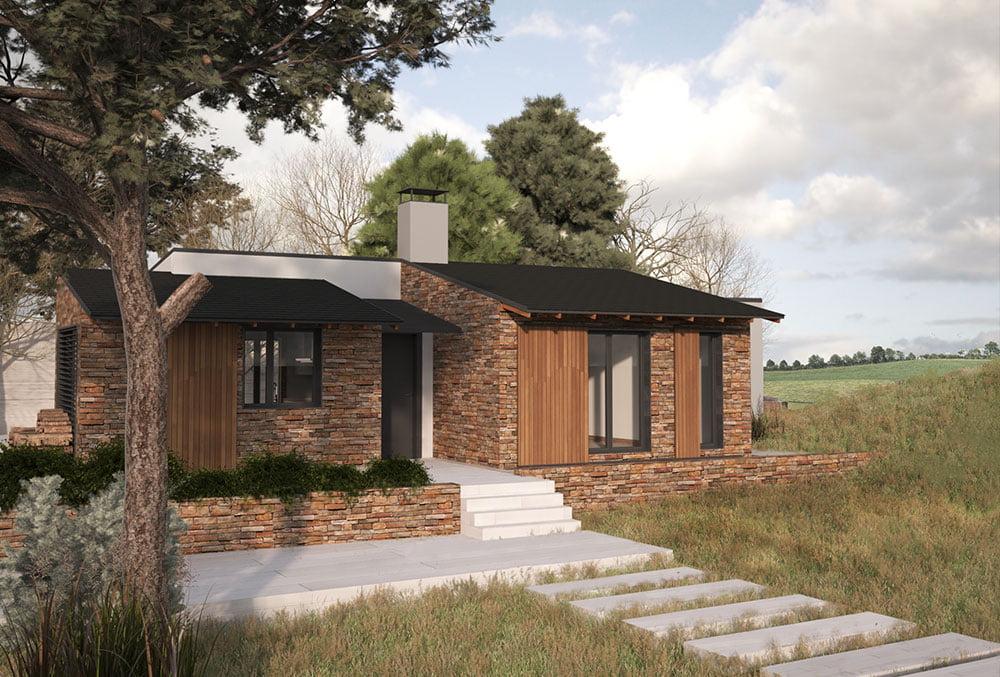 exterior Casa modular Arena 4 dormitorios. Atlántida Homes