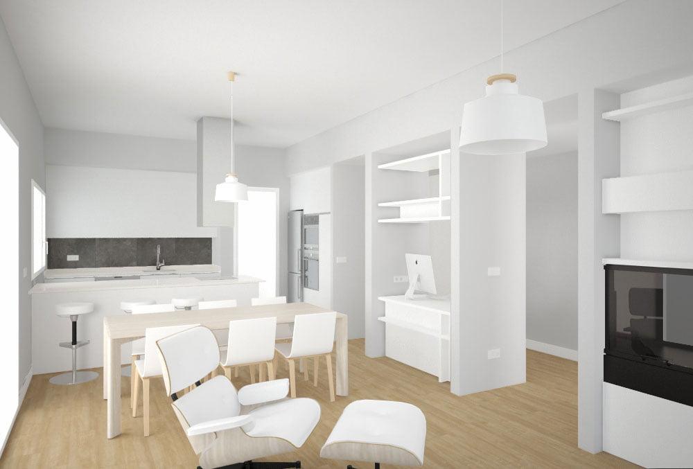 salon casa prefabricada Tundra dos dormitorios. Atlántida Homes