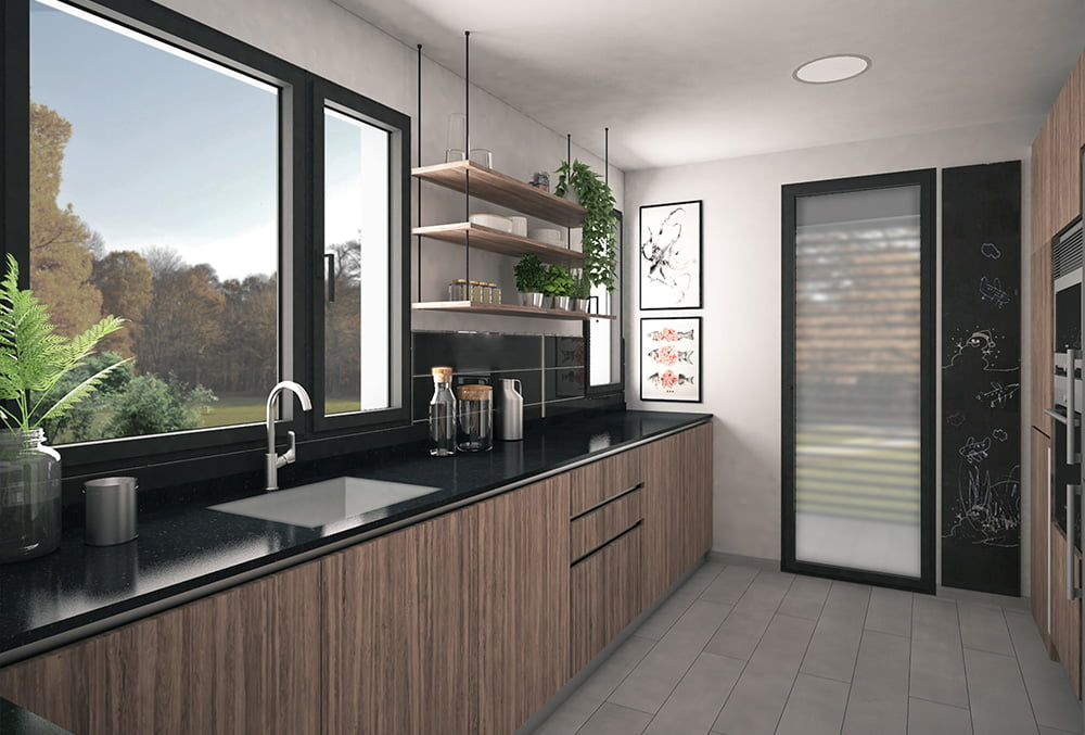 Cocina casa industrializada Duna. Atlántida Homes