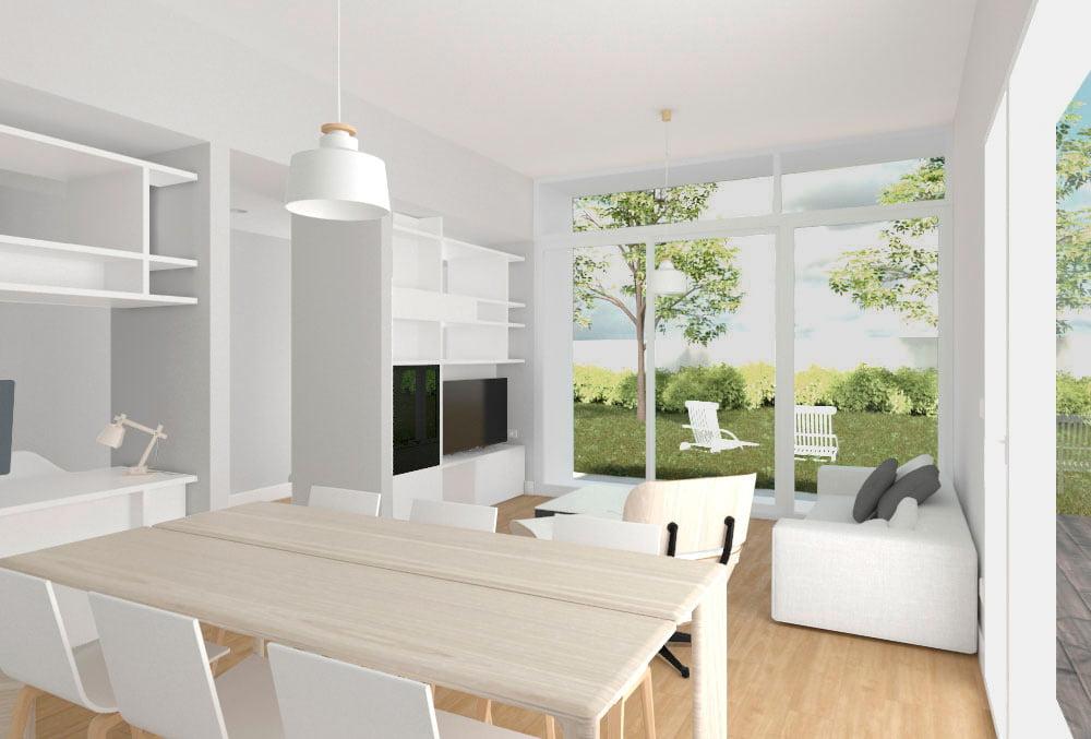 salon Casa prefabricada Tundra 2 dormitorios. Atlántida Homes