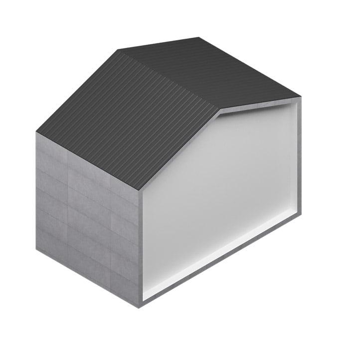 Revestimiento de placas de gran formato de FIBRO-CEMENTO - Tectiva Blanco - Euronit con cubierta de chapa perfilada