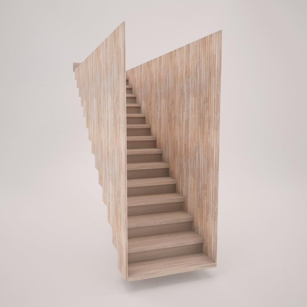 Escalera cerrada con caja y peldañeado de madera