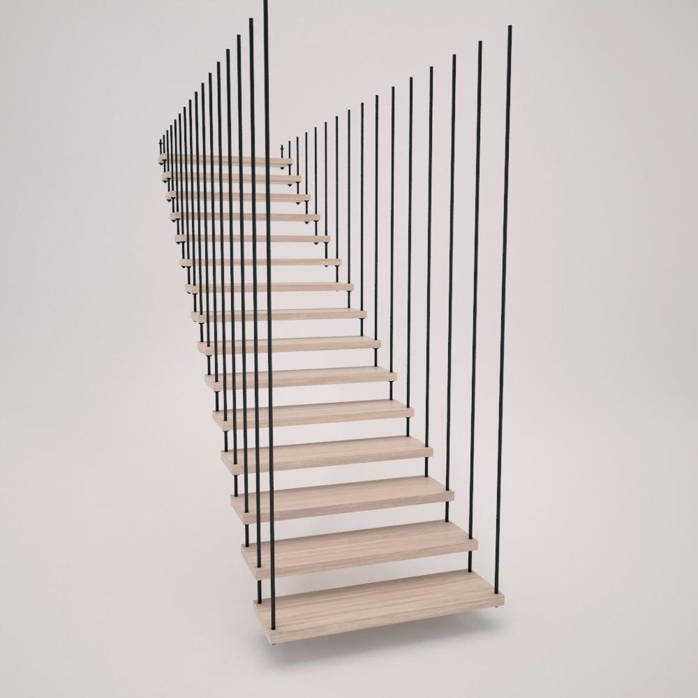 Escalera de tirantes de acero y peldaños de madera