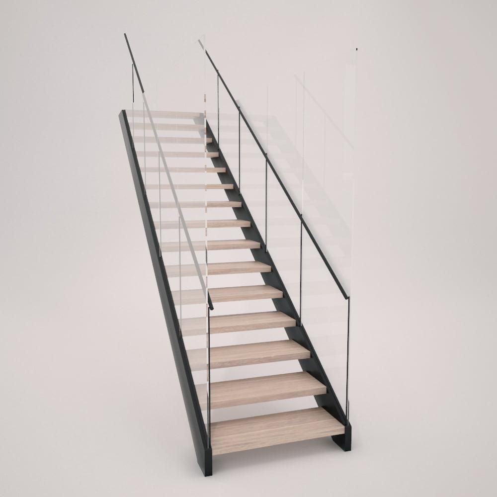 Escalera de zanca metálica y cierre de vidrio con peldañeado abierto de madera
