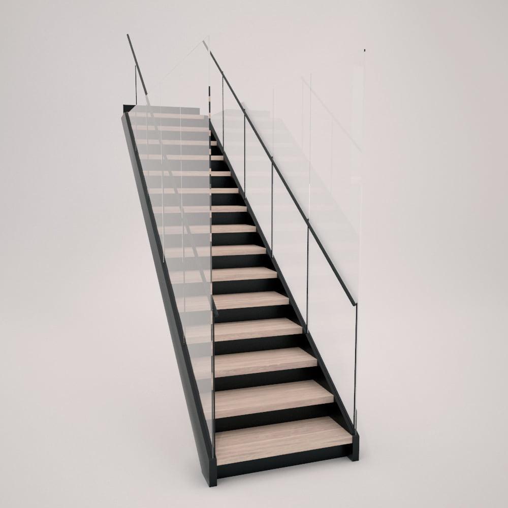 Escalera de zanca metálica y cierre de vidrio con peldañeado cerrado de madera y acero