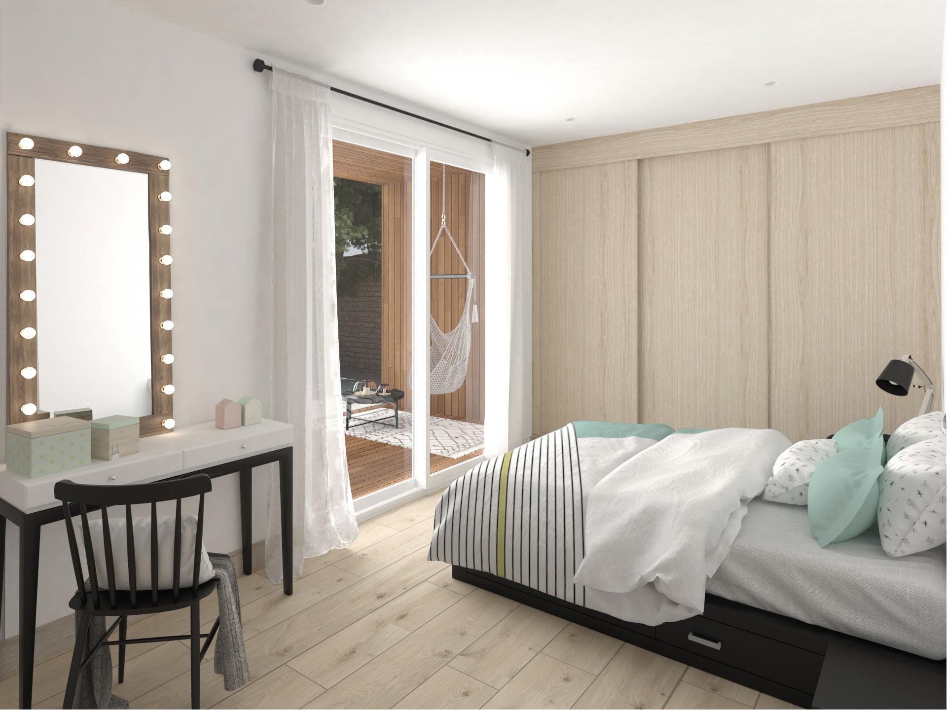 dormitorio Casa prefabricada Aura. Atlántida Homes