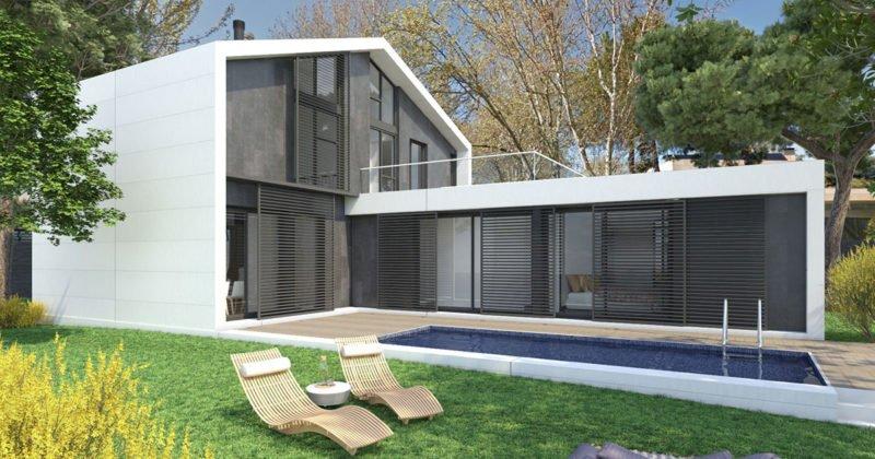diseño de casa prefabricada en L