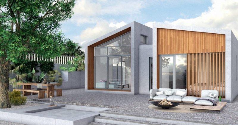 casa prefabricada con cubierta inclinada