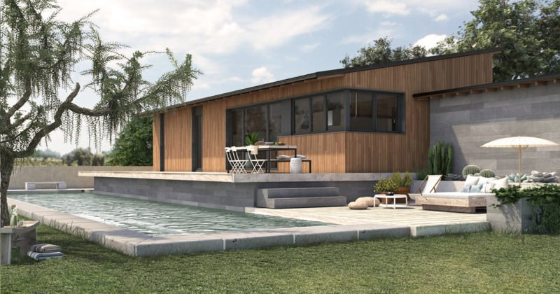 diseño de casa prefabricada rustica