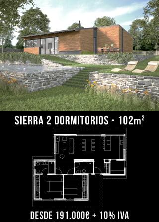 Casa prefabricada rústica Sierra 2 dormitorios.