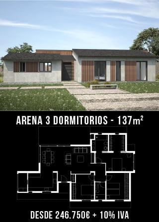 Casas prefabricadas cubierta . Arena 3 dormitorios.