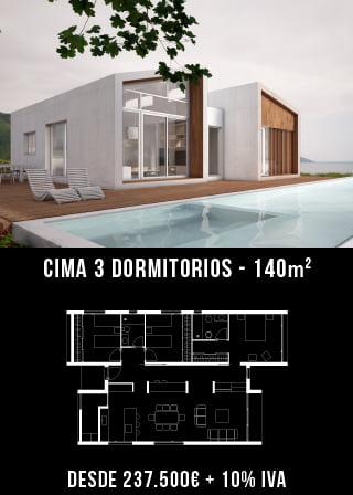 Casas prefabricadas. Cima 3 dormitorios.