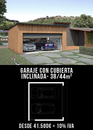 Garaje modular cubierta inclinada Atlantida Homes