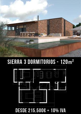 Casas prefabricadas rústicas. Sierra 3 dormitorios.