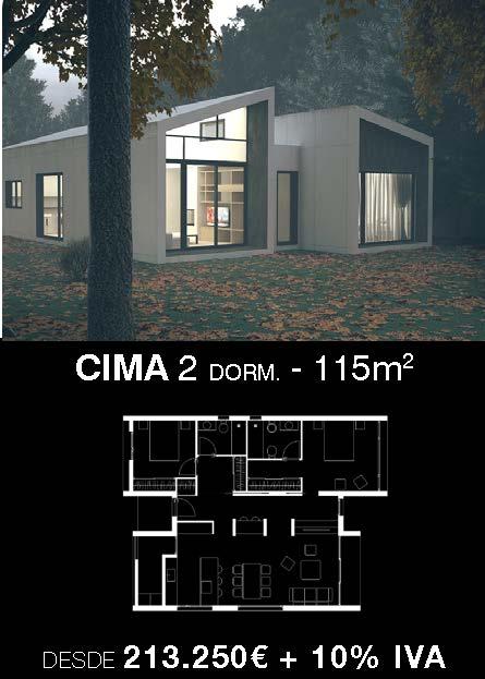 Casa prefabricada Cima 2 dormitorios. Atántida Homes