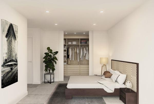 Dormitorio principal vivienda modular prefabricada Atlas Atlántida HOMES
