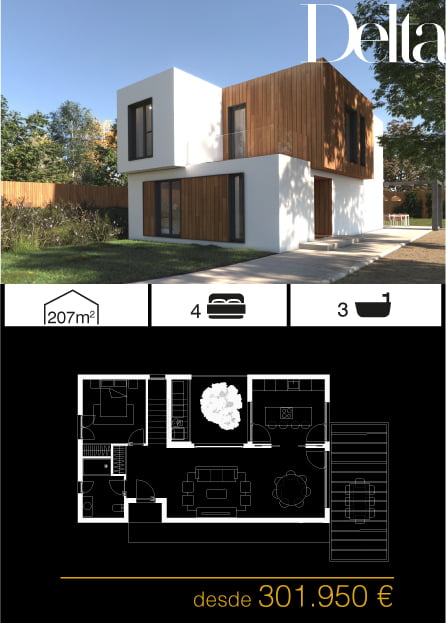 Casas prefabricadas unifamiliares. Arena 4 dormitorios.