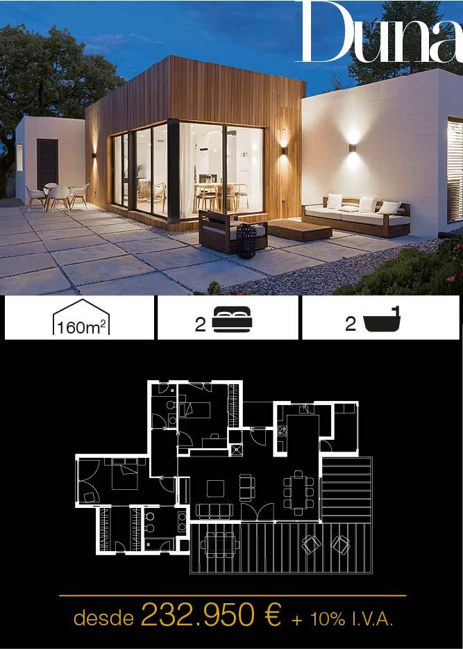 Casa prefabricada. Duna 2 dormitorios. Atlántida Homes
