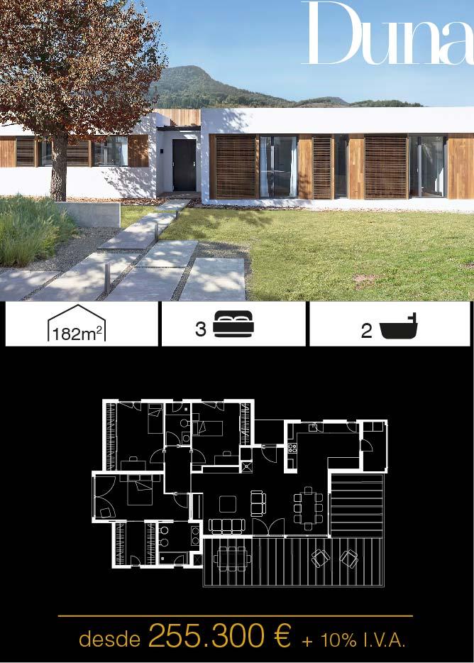 Construir una casa prefabricada. Duna 3 dormitorios.